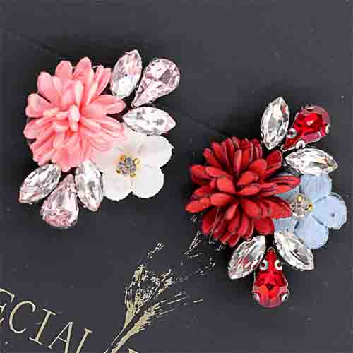 flowers with rhinestones hand stitching ornament for bag and shoe