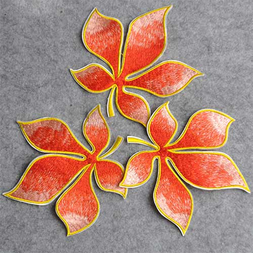 red maple leaf stitching ornament for bag and shoe
