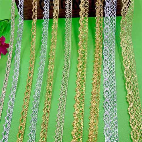 gold and silver lace ribbon for shoes, garments and handbags