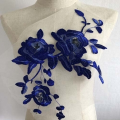 Lace embroidery applique embroidered patch fabric clothing blue wedding for show