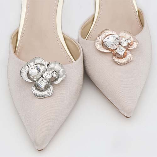 metal brushed petals clip for ladies shoes