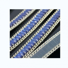 Rectangle rhinestone and metal chain ribbon for shoes and bags