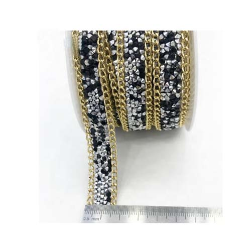 Chain and random rhinestone ribbon for shoes and bags